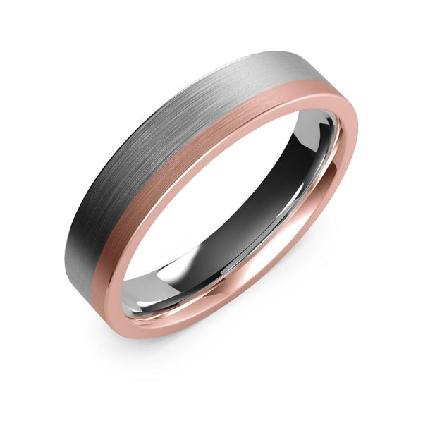 5mm white gold and rose gold ring, womens mens wedding ring, womens mens white and rose gold ring, womens mens ring, womens mens wedding band, modern wedding ring, modern wedding band, classic wedding ring, industrial ring, 10k gold, 14k gold, 18k gold