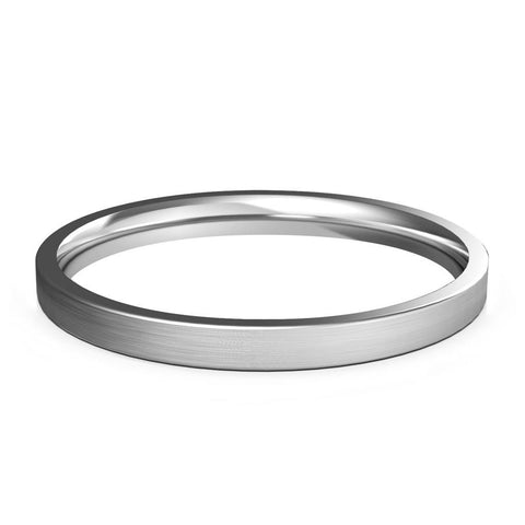 2mm White Gold Wedding Band, Ring, Brushed Finish, Rounded Polished Edges, Shop rings