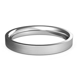 3mm White Gold Wedding Band, Ring, Brushed Finish, Rounded Polished Edges, Shop rings