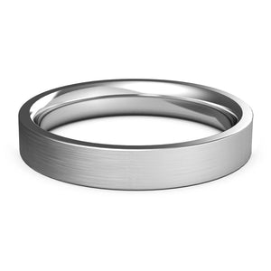 4mm White Gold Wedding Band, Ring, Brushed Finish, Rounded Polished Edges, Shop rings