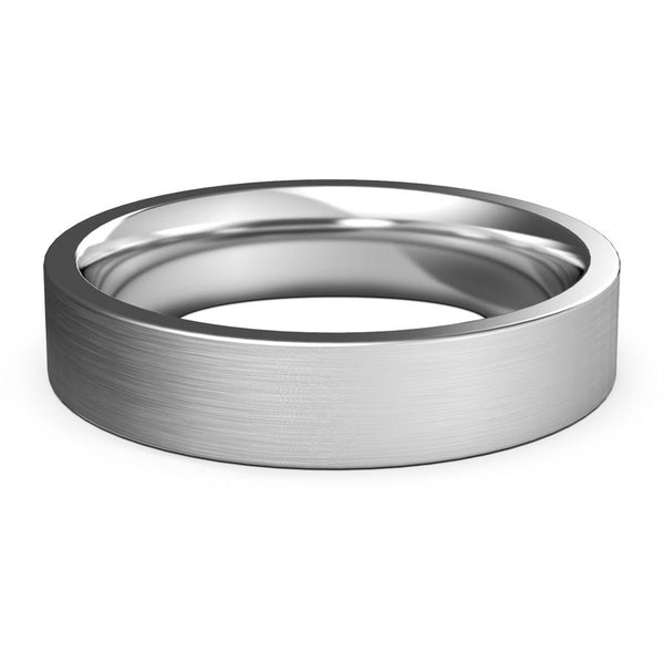 5mm White Gold Wedding Band, Ring, Brushed Finish, Rounded Polished Edges, Shop rings