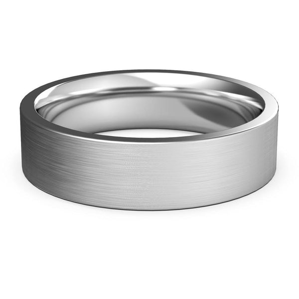 6mm White Gold Wedding Band, Ring, Brushed Finish, Rounded Polished Edges, wedding ring, Shop rings