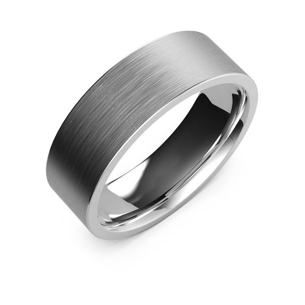 7mm White Gold Wedding Band, Ring, Brushed Finish, Rounded Polished Edges, wedding ring, Shop rings