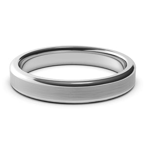 4mm White Gold Wedding Band Ring, Brushed Finish, Rounded Polished Edges, Comfort Fit
