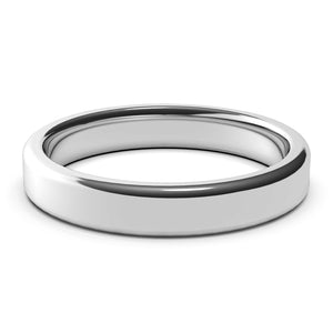 4mm White Gold Wedding Band Ring, High Polish Finish, Rounded Edges, Comfort Fit