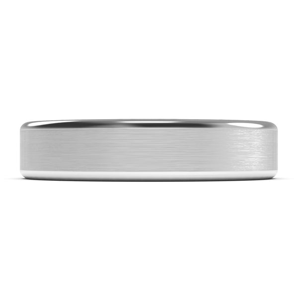 5mm White Gold Wedding Band Ring, Brushed Finish, Rounded Polished Edges, Comfort Fit