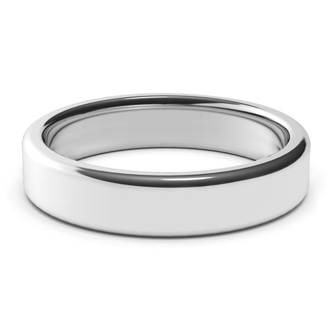 5mm White Gold Wedding Band Ring, High Polish Finish, Rounded Edges, Comfort Fit