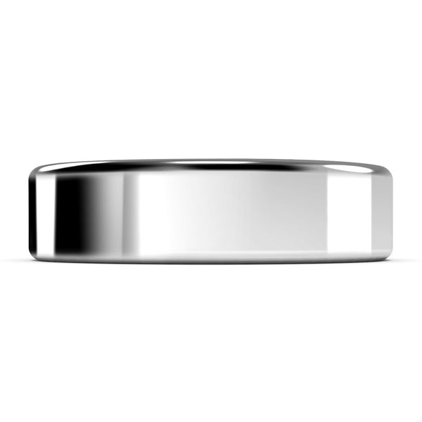 6mm White Gold Wedding Band Ring, High Polish Finish, Rounded Edges, Comfort Fit
