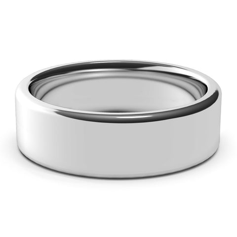 7mm White Gold Wedding Band Ring, High Polish Finish, Rounded Edges, Comfort Fit