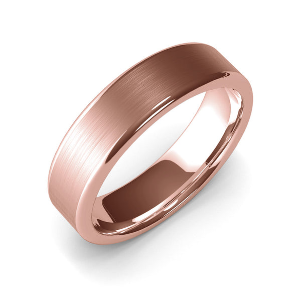 6mm Rose Gold Wedding Band Ring, 10k Gold, 14k Gold. 18k Gold Womens Ring, Modern, Master Goldsmith Quality