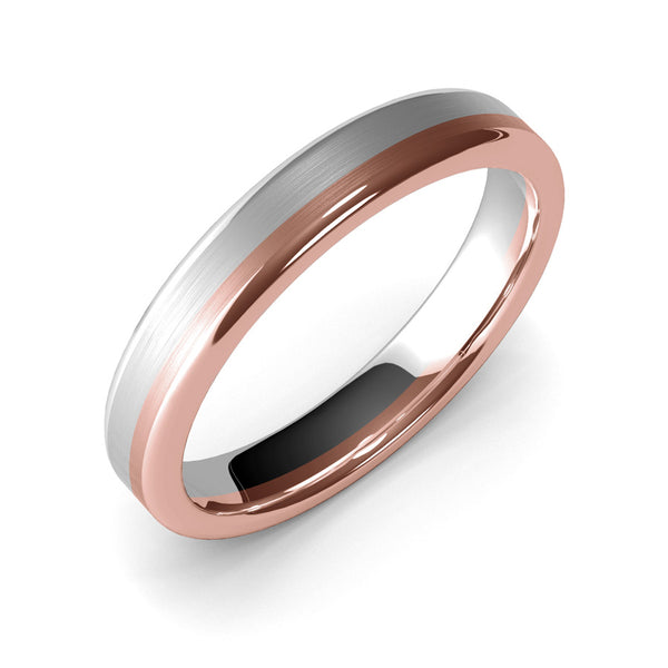 4mm White Gold and Rose Gold Wedding Band Ring, Brushed Texture Finish, Modern Wedding Ring, Contemporary, Two Tone Gold, Unique Designer Ring, Comfort Fit