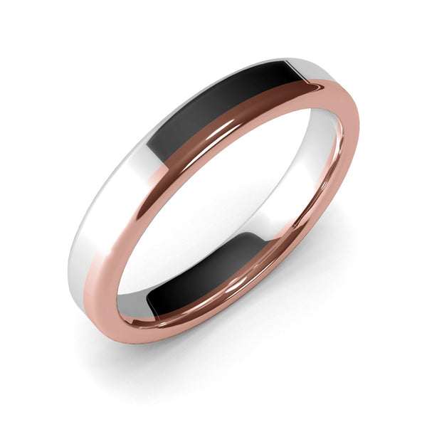 Womens Wedding Band, 4mm, White Gold, Rose Gold, Wedding Ring, Polished Finish, Modern Wedding Ring, Contemporary, Two Tone Gold, Unique Designer Ring, Luxury Ring, Comfort Fit