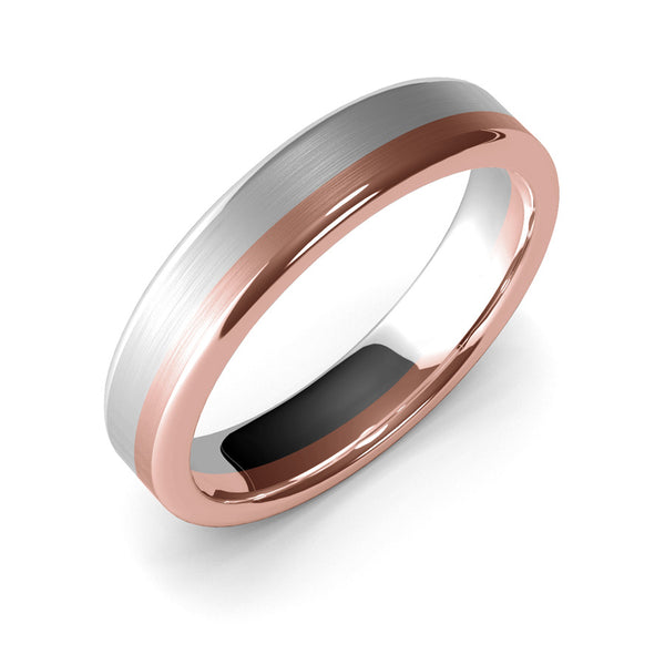 5mm White Gold and Rose Gold Wedding Band Ring, Brushed Texture Finish, Modern Wedding Ring, Contemporary, Two Tone Gold, Unique Designer Ring, Comfort Fit