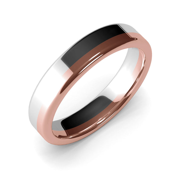 Womens Wedding Band, 5mm, White Gold, Rose Gold, Wedding Ring, Polished Finish, Modern Wedding Ring, Contemporary, Two Tone Gold, Unique Designer Ring, Luxury Ring, Comfort Fit