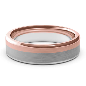 6mm White Gold and Rose Gold Wedding Band Ring, Brushed Texture Finish, Modern, Contemporary, Two Tone Gold, Unique Designer Ring, Comfort Fit