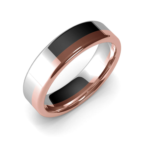 Mens Wedding Band, 6mm, White Gold, Rose Gold, Wedding Ring, Polished Finish, Modern Wedding Ring, Contemporary, Two Tone Gold, Unique Designer Ring, Luxury Ring, Comfort Fit