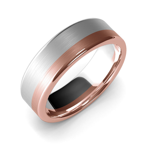 7mm White Gold and Rose Gold Wedding Band Ring, Brushed Texture Finish, Modern, Contemporary, Two Tone Gold, Unique Designer Ring, Comfort Fit