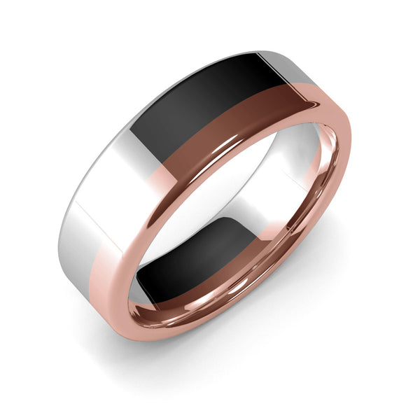 Mens Wedding Band, 7mm, White Gold, Rose Gold, Wedding Ring, Polished Finish, Modern Wedding Ring, Contemporary, Two Tone Gold, Unique Designer Ring, Luxury Ring, Comfort Fit