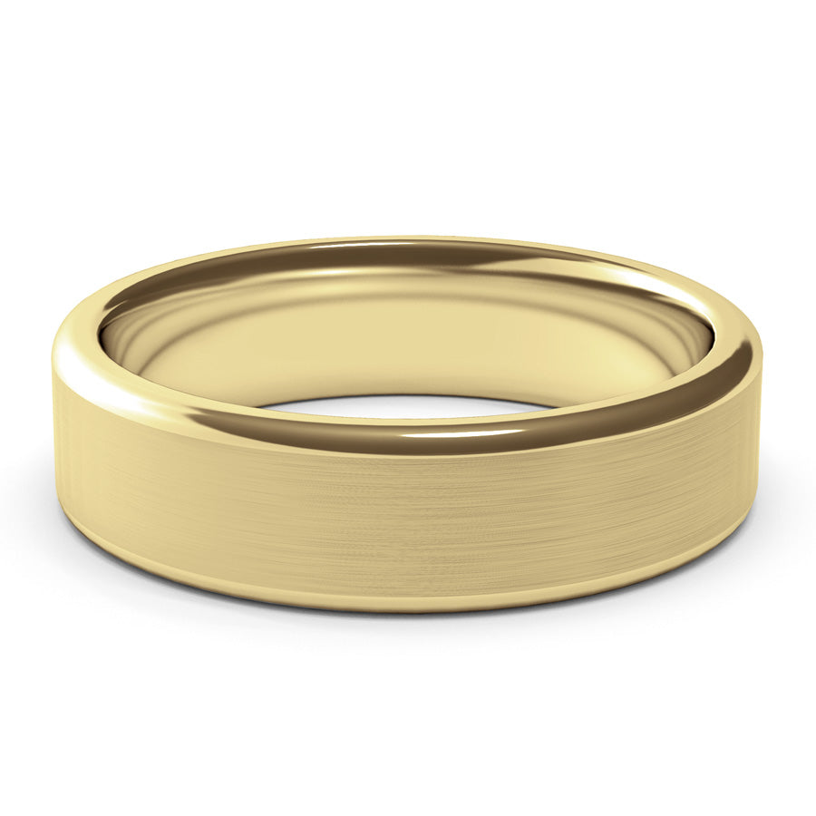 6mm Yellow Gold Wedding Band Ring, Brushed Texture Finish, Modern, Contemporary, Mens Ring, Comfort Fit