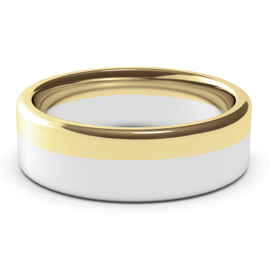 Mens Wedding Ring, 7mm,  Large Ring, White Gold, Yellow Gold , Polished Finish, Modern Wedding Ring, Hand Made Ring, Two Tone Gold, Designer Wedding Band, Comfort Fit, Luxury Ring