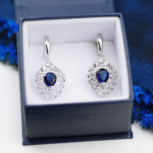 earrings, silver earrings, luxe earrings, luxury earrings, statement earrings, saphire earrings, blue earrings, bridal earrings, bridal, wedding jewellery, bridal jewellery, glam, glam jewellery, gems