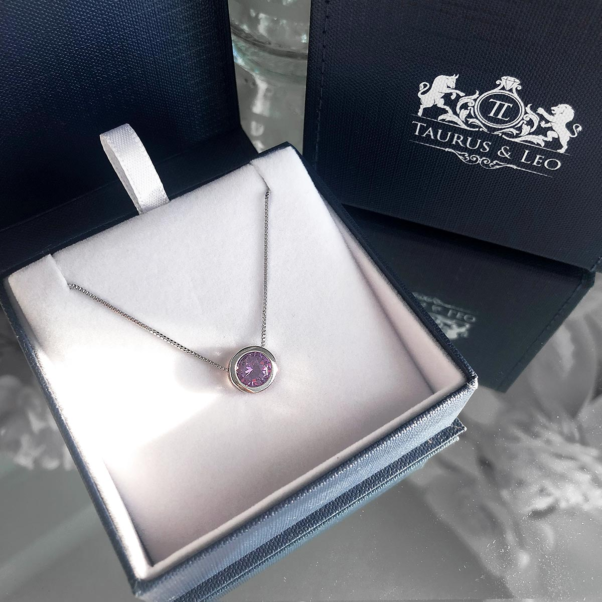 necklace, silver necklace, charm necklace, sterling silver necklace, box link chain, amethyst necklace