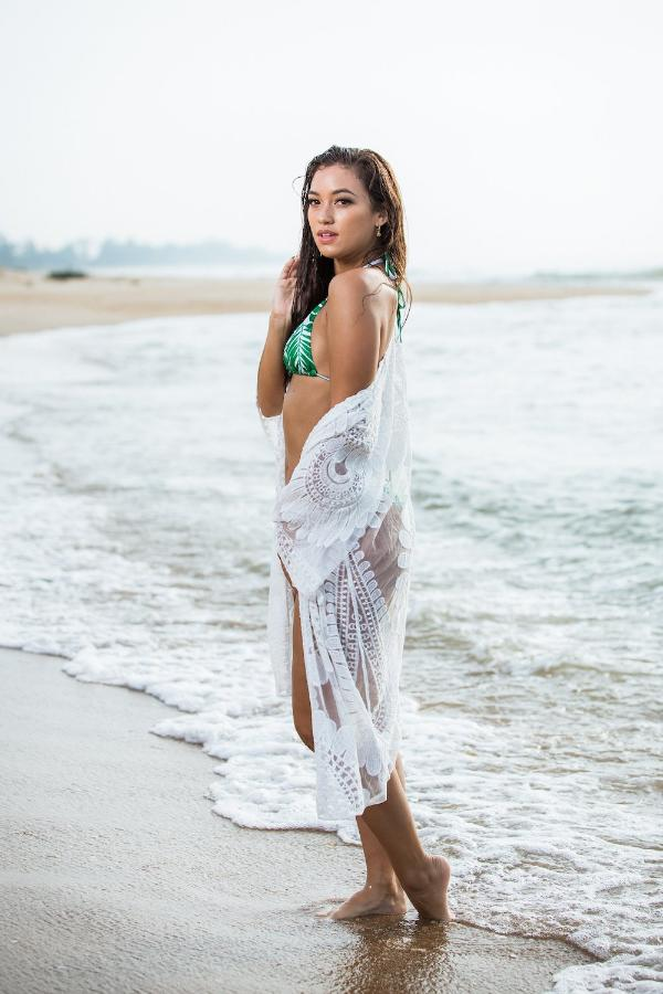Long Kimono Cover up - Sunflower White Like the sunflower that follows the sun, I turn to you my sunshine! Beach wear or beach over swim, is now available at our store www.goldensandsbikini.com