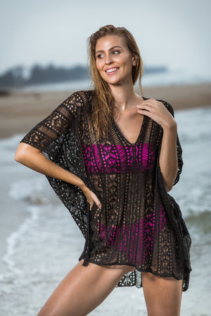 Beach Kaftan - Bohemian Romance Black Wear the gentle touch of the sunset and let your soul dance to that Bohemian romantic rhythm at the beach inferno with our beach kaftan over swim