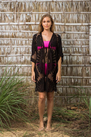 Long Kimono Cover up - Sunflower Black When the moonlight shines bright, a romantic walk on the beach is always a great idea! Looking for a Bali vibes swimwear collection? We are here for you babe! Check out our Swim over collection at www.goldensandsbikini.com