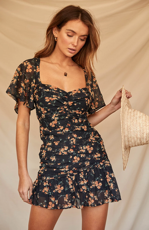MARIGOLD DRESS-BLACK FLORAL