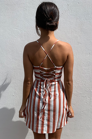RUST STRIPE DRESS