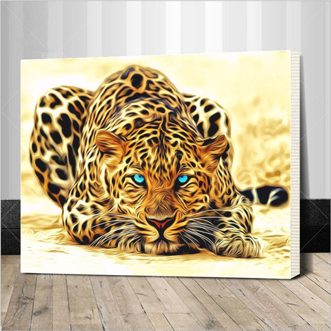 Diy paintings zappsco leopard acrylic art do it yourself paint by numbers solutioingenieria Gallery