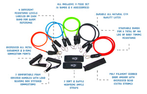 11 Piece Resistance Band Set - Get Fit Anywhere!