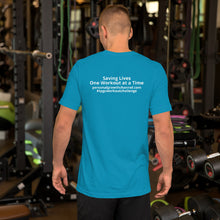 Load image into Gallery viewer, Short-Sleeve Unisex T-Shirt - Blank Front - Saving Lives One Workout at a Time Series
