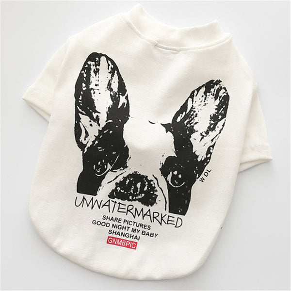 Trendy French Bulldog Design Dog Shirt (Black or White)