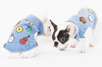 Stylish Patch Print Jean Dog Vest