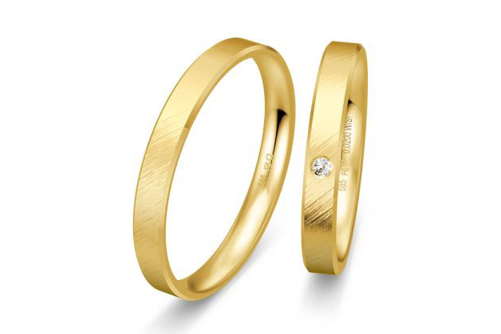 "PAR DE ARGOLLAS DE MATRIMONIO ""BASIC LIGHT"" 14K (A56010-56020)"