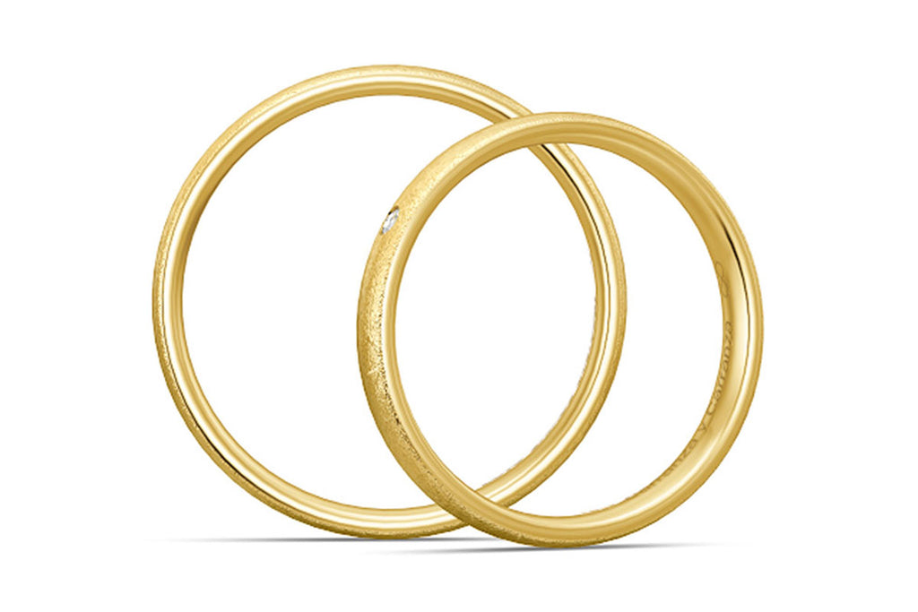 "PAR DE ARGOLLAS DE MATRIMONIO ""BASIC LIGHT"" 14K (A56030-56040)"