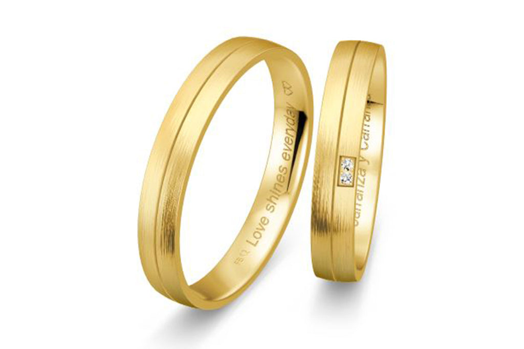 "PAR DE ARGOLLAS DE MATRIMONIO ""BASIC LIGHT"" 14K (A56070-56080)"