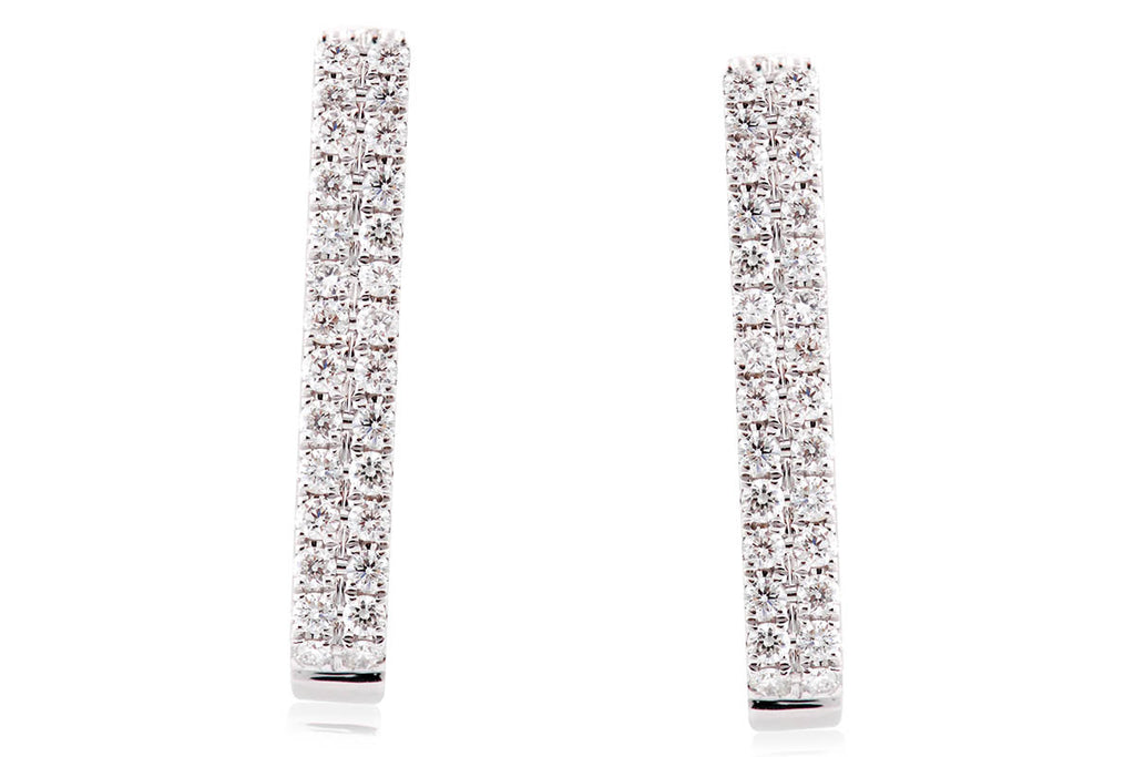 Aretes colección Two Row con 0.65ct de diamantes y 18K