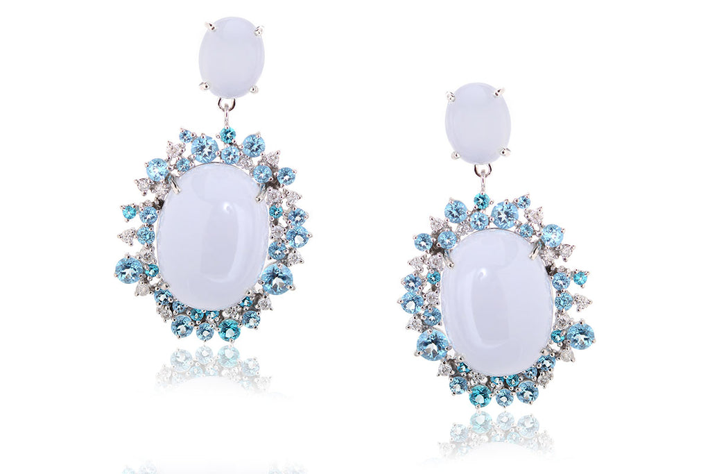 Aretes Brumani Baobab Blue Collection 18K, Finos Topacios Azules (M34218)