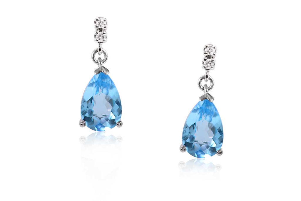 "Aretes ""Color Of The Sky"" 18K, Topacio Swiss y Diamantes Naturales (M34412)"
