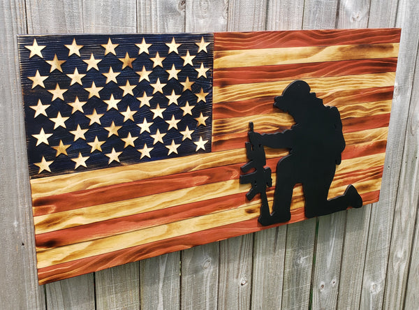 American Wood Flag: Kneeling Soldier