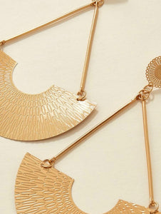 Gold Fan Link Earrings