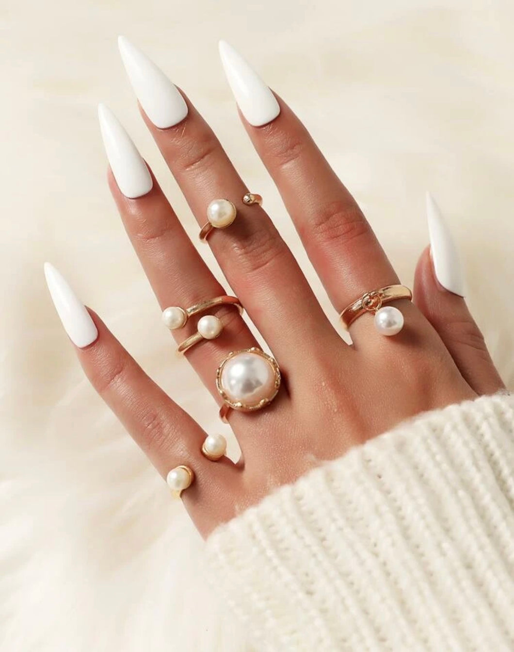 Golden Pearl Ring Set