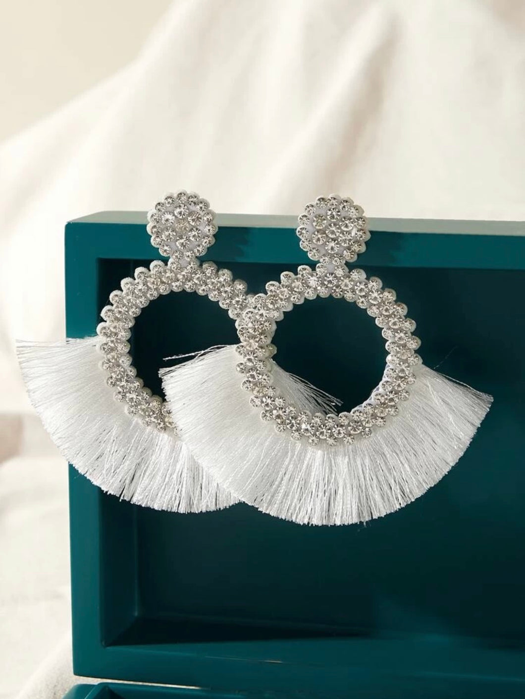 Rhinestone White Earrings