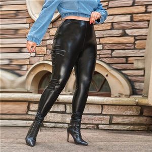 Plus Size Black PU Leather Leggings