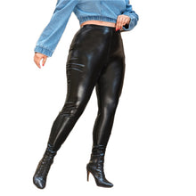 Load image into Gallery viewer, Plus Size Black PU Leather Leggings