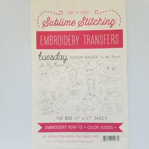 "Sublime Stitching Tuesday Bassen ""In My Room"" Embroidery Transfers Big Sheet"