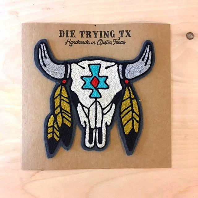 Die Trying TX Feathered Skull
